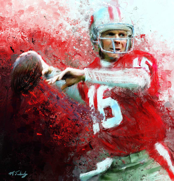 Joe Montana painting | Sports Artist Mark Trubisky | Custom Sports Art