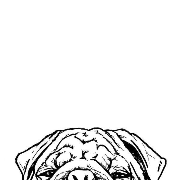 Pug At The Table Art | Van Isle Dog Art