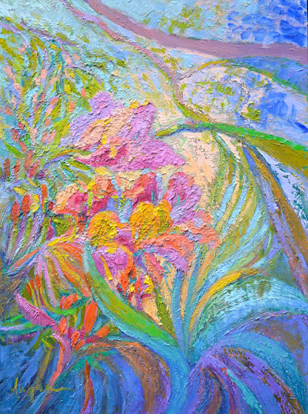 Large Orchid Painting, Original Oil by Dorothy Fagan