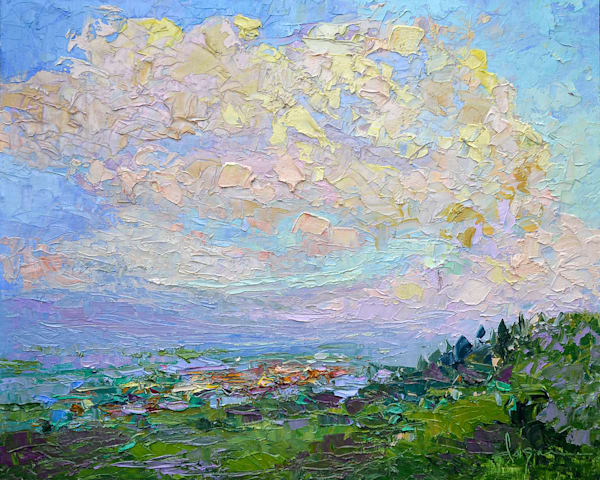 Tuscany Landscape Oil Painting with Clouds by Dorothy Fagan