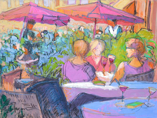 Tuscan Cafe Scene, Original Painting by Dorothy Fagan