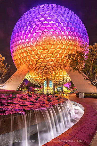 Spaceship Earth at Night 6 - Spaceship Earth Mural | William Drew Photography
