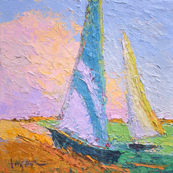 Sunrise Sailboats Art Print by Dorothy Fagan