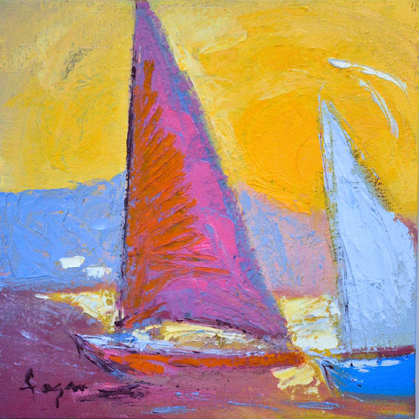 Square Sailboat Canvas Print by Dorothy Fagan