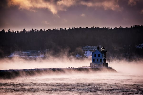 Rockland Breakwater Light on a Winter Morning by Rick Berk