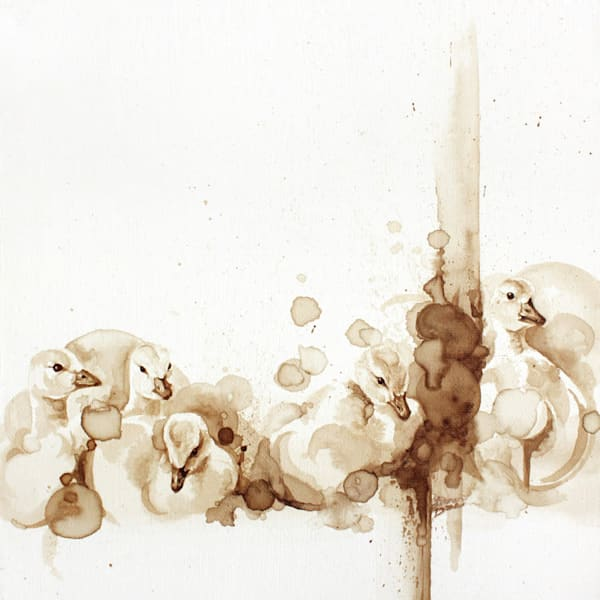 Puddle Poofs -  - Original Coffee Painting