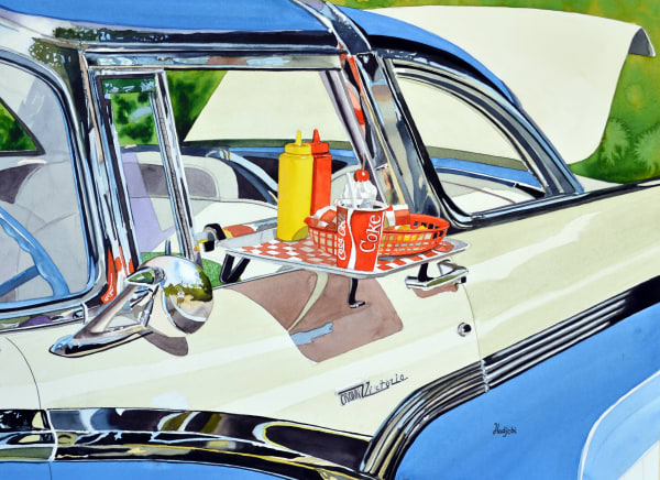 A realistic painting of a Crown Victoria by Sanibel artist, Shah Hadjebi