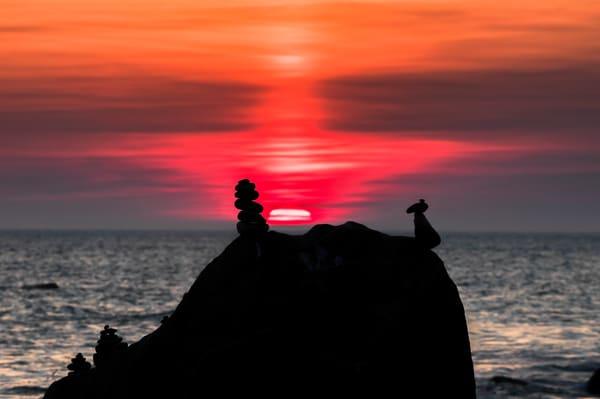 Moshup Beach Cairn Sunset