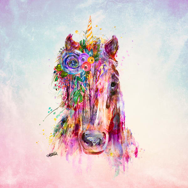 Unicorn painting on watercolor background print by Sally Barlow