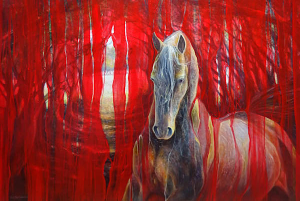 A large contemporary red oil painting of beautiful gold Arabian horse against an abstract bright red background.