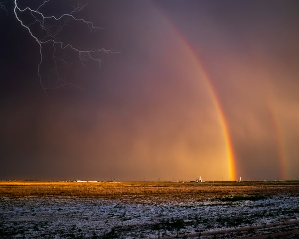 Rainbow and Lightning in Texas