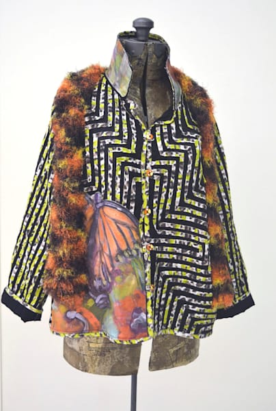 Butterfly Jacket, One of a Kind Hand Painted by Dorothy Fagan