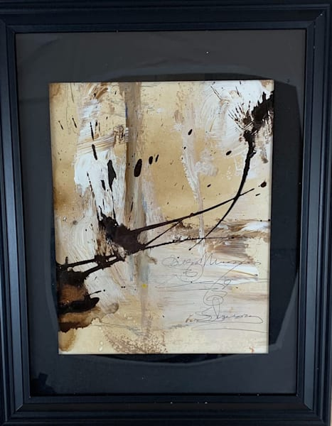 Original art, abstract, acrylic, neutral palette, gesso, asemic writing