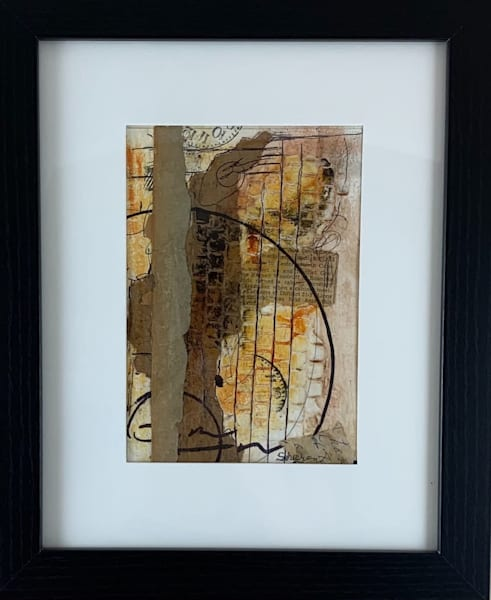 Original, mixed media, earth colors, stamping, hand painted paper, water color paper