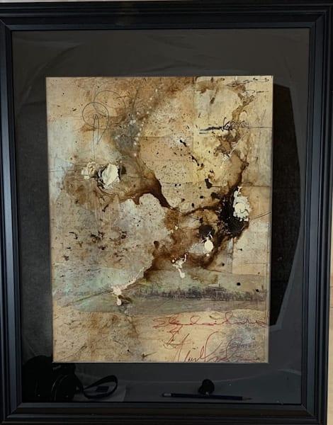 Original art, mixed media, water color paper, earth tones, abstract