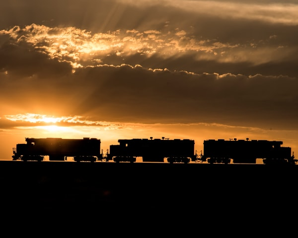 Train in the sunset