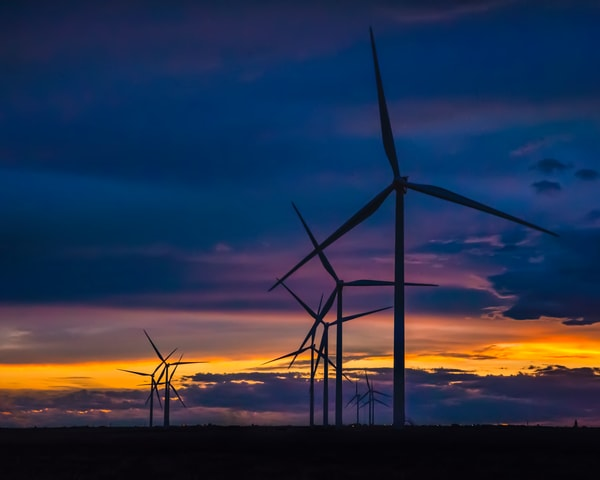 Turbines against the sunset