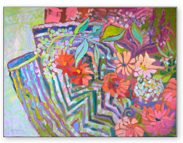Zinnias Abstract Floral Limited Edition by Dorothy Fagan