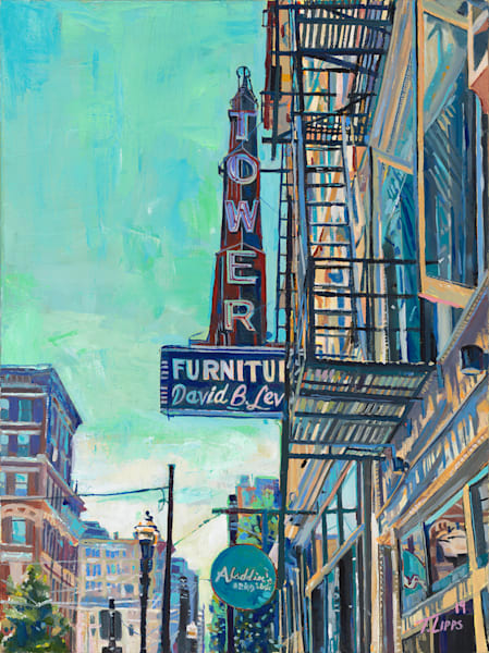 Vintage sign on main st (painting)