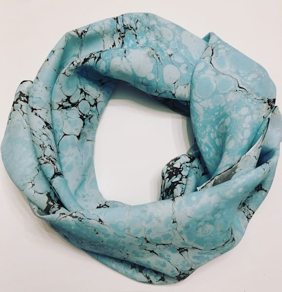 Marbled Silk Scarf--Robin's Egg