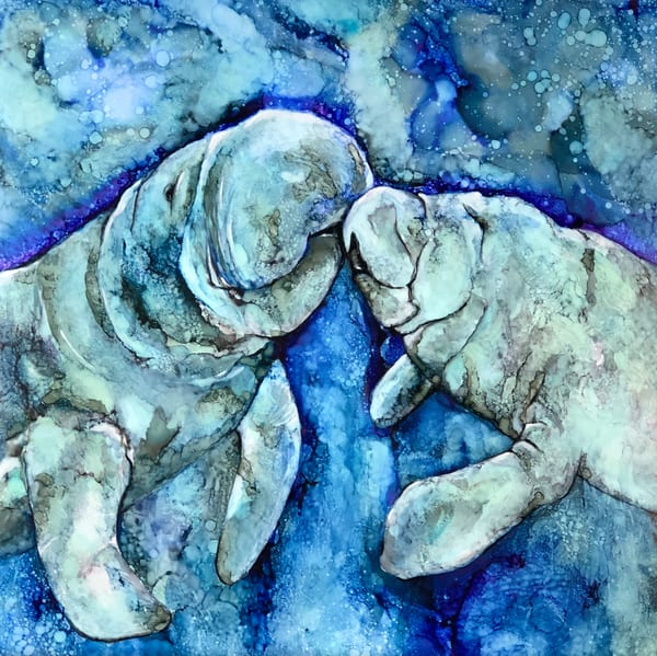 Manatee kiss, alcohol ink art reproduction print. Heidi Stavinga
