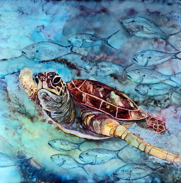 sea turtle among friends, alcohol ink print, heidi stavinga