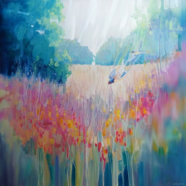 prints on canvas or paper of summer playground semi abstract painting of a summer meadow with wildflowers and swallows