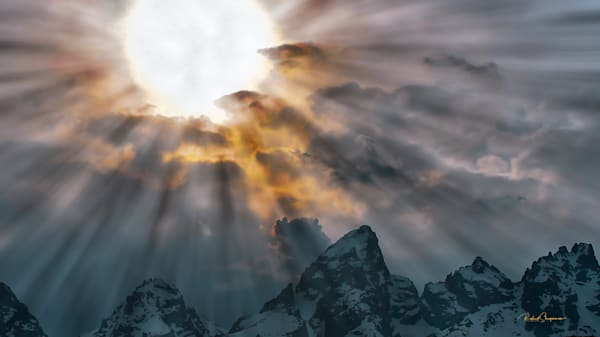 Sun Shines through Clouds over Mountain Peaks | Shop Prints | Robert Shugarman Photography