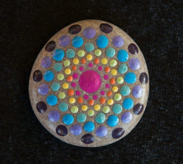 Small Rainbow Mandala Stone (D)