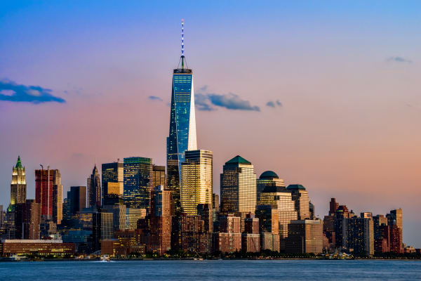 World Trade Center rising above Manhattan skyline