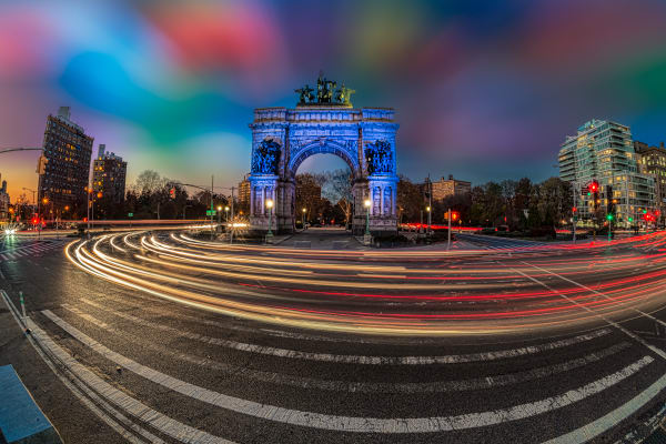 Light trails around Grand Army Plaza