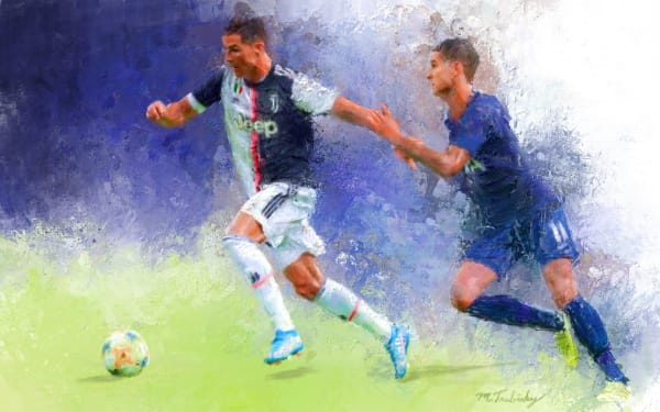 Christiano Ronaldo painting | Sports artist Mark Trubisky | Custom Sports Art