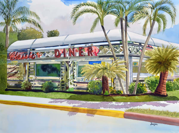 Classic Diner - A painting of Denny's on Summerlin Road, Fort Myers, Florida