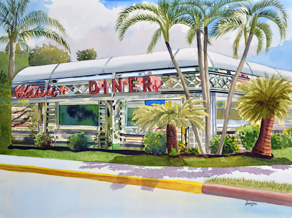 Limited edition painting of Classic Diner, by Sanibel Artist, Shah Hadjebi. A run of 20 hand signed and numbered giclees.