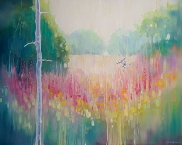 A contemporary oil painting of summer meadow with a swallow and wildflowers in very vibrant colours, art nouveau, semi abstract style.