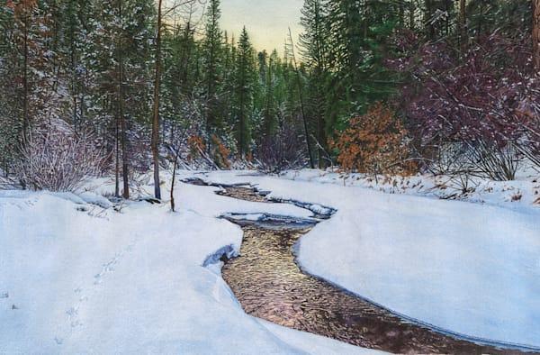 Dawn, La Junta, new mexico, jemez river, landscape, watercolor, winter