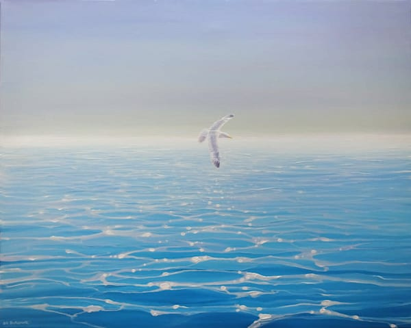 Oil painting on canvas showing a lone seagull gliding over a calm blue turquoise sparkling sea