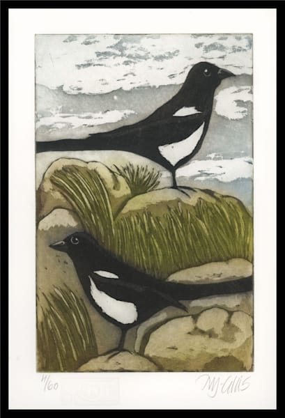 Magpies - aquatint etching