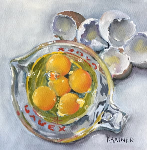 """Anticipation"" Original Eggs in Pyrex Oil Painting by Food Artist Kristine Kainer"