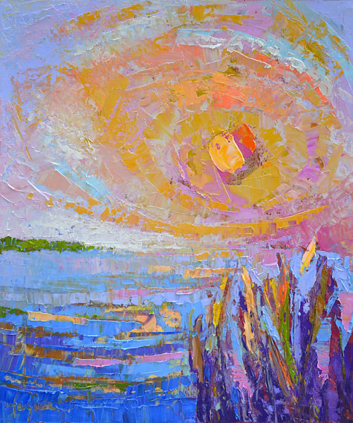 Sunset Marsh Original Oil Painting by Dorothy Fagan