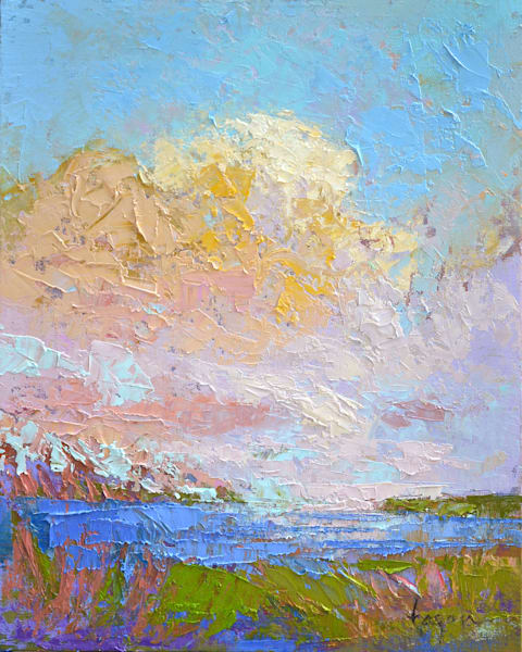 Small Cloud Painting, Original Oil by Dorothy Fagan