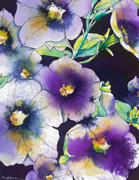 Purple Petunias  Art   Mickey La Fave