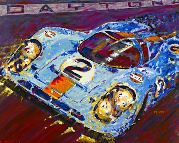 Porsche Daytona Champion At Night Original Painting Art | Telfer Design, Inc.