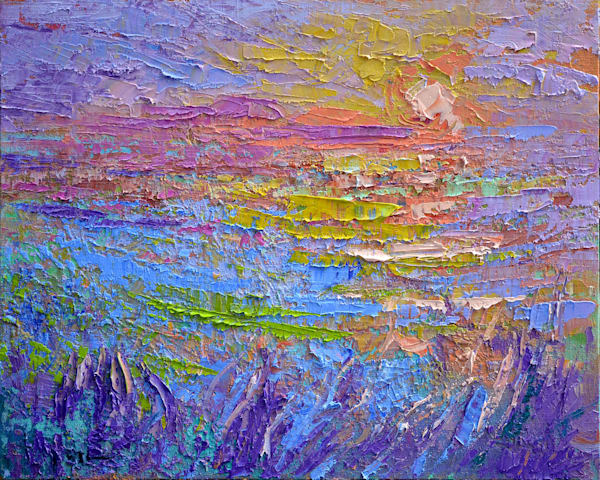 Rainbow Colors Sunset Painting, Original Oil by Dorothy Fagan