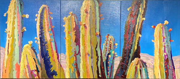 Cacti Triptych by Sharon Hodges | Madaras Gallery | Tucson Art