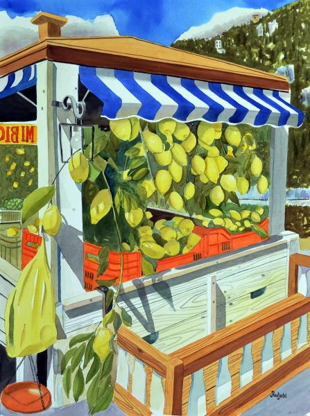 A painting of an Italian Lemon stand by artist Shah Hadjebi