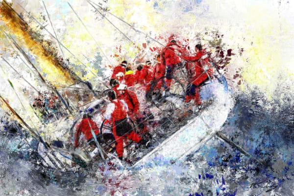 Sailboat race painting | Sports artist Mark Trubisky | Custom Sports Art