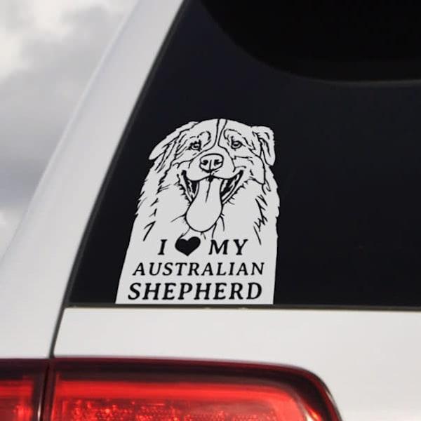 I Love My Australian Shepherd Vinyl Sticker for Cars and Laptops