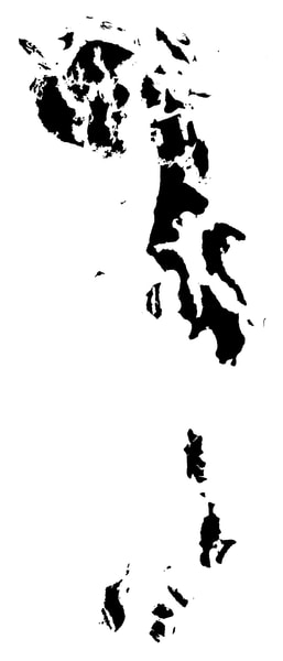 Islands of the Puget Sound - Black on White