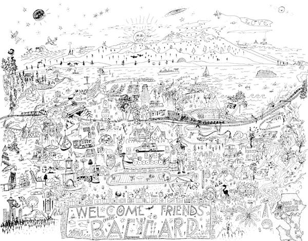 Pictoral Map of Balldard - Seattle Washington